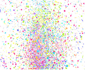 Multicolored confetti on isolated white. Geometric festive background with glitters. Colored pattern for design. Print for flyers, posters, banners and textiles. Greeting cards. Holiday bright texture