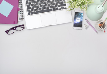 Smartphone on White Desk Mockup