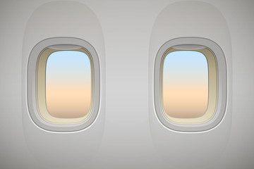 Airplane window, realistic aircraft interior, vector background