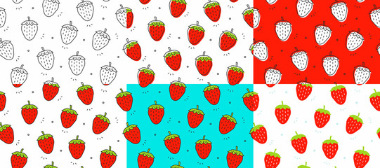 Set of red Strawberrys seamless pattern. Vector illustration