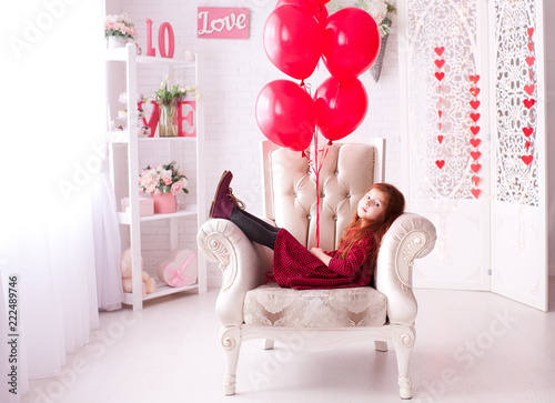 Smiling Baby Girl 3 4 Year Old Holding Red Balloons In Room Birthday Party Childhood