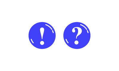 Two blue round buttons with question marks and exclamation marks