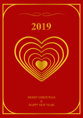 New year and merry Christmas greeting card template on red background