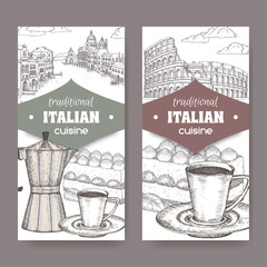 Two Italian cuisine labels with Venice and Rome landscape, tiramisu dessert, coffee cup and espresso maker on white.