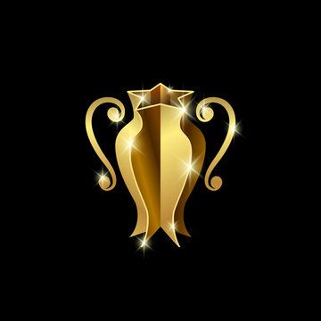 Golden sports cup of champions. Abstract 3d trophy logo for football, basketball, soccer and tennis competition.