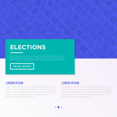 Election and voting concept with thin line icons: voters, ballot box, inauguration, corruption, president, political victory, propaganda, bribe, agitation. Vector illustration, print media template.