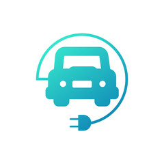 electric car charge parking icon on white background.