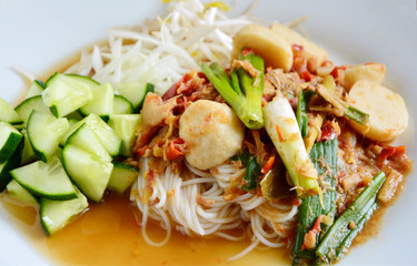 This menu is North eastern part of Thailand Sauce for Thai rice noodle. (Thai name is  Kanom jeen nam ya pa)