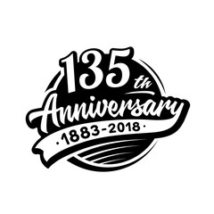 135 years anniversary design template. Vector and illustration. 135th logo.