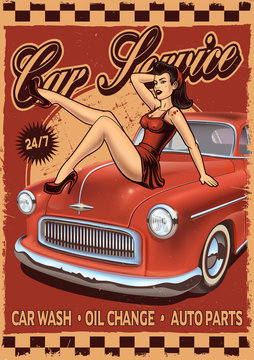 Pin-up rerto poster with girl and classic car