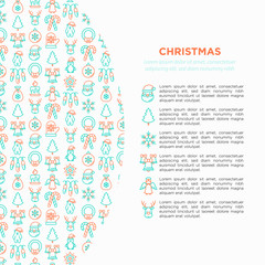 Christmas concept with thin line icons: Santa Claus, snowflake, reindeer, wreath, candy cane, polar bear in hat, mitten, candle, penguin, garland. Vector illustration for banner, print media template.