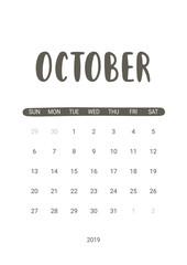 Vector Calendar Planner for October 2019. Handwritten lettering.