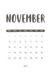 Vector Calendar Planner for November 2019. Handwritten lettering.