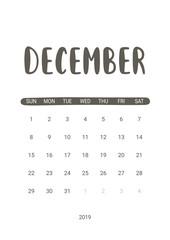 Vector Calendar Planner for December 2019. Handwritten lettering.