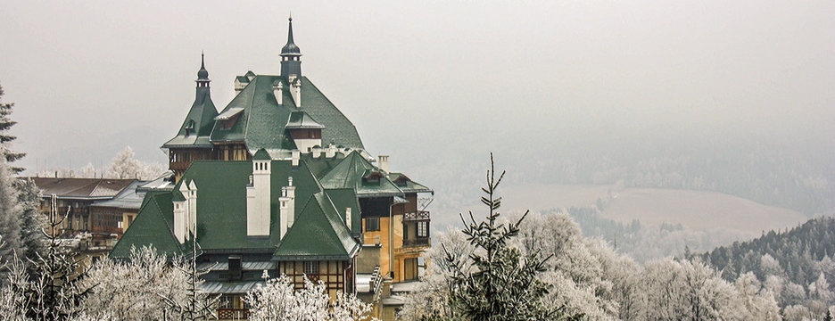 Skiing resort Semmering, Austria. Beautiful traditional chalet in austrian Alps in winter. Panoramic view of idyllic winter wonderland mountain scenery.