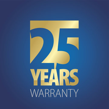 25 Years Warranty gold blue logo icon button stamp vector