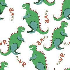 Green dinosaurs rawr on the white background