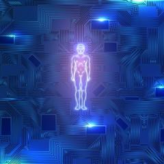 6177881 Glowing man figure on microscheme