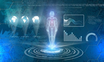 6084542 Man hologram on futuristic technology background