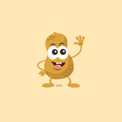 Illustration of cute happy peanut mascot greeting someone with big smile isolated on light background. Flat design style for your mascot branding.
