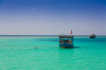 Maldives,  landscape sea, boat