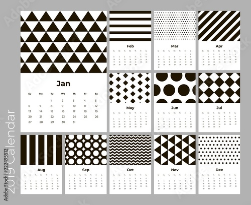 calendar 2019 year a4 cards vector with black geometric pattern eps 10