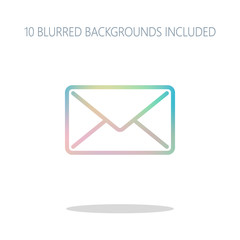 mail close icon. Colorful logo concept with simple shadow on whi