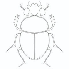 Coloring raster. Egyptian Scarab beetle. Large insect