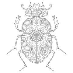 Anti-stress coloring book raster. Egyptian Scarab beetle.