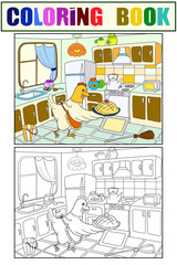 Mom chicken in the kitchen prepares food for the family color book for children cartoon raster. Coloring, black and white