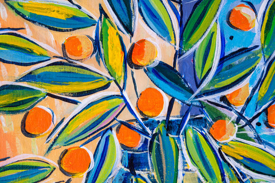 Details of acrylic paintings showing colour, textures and techniques. Expressionistic leaves and orange berries.