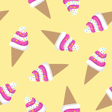 pink and white ice cream cone twisted on a yellow background sprinkled with colorful candy moon star waffle pattern seamless vector