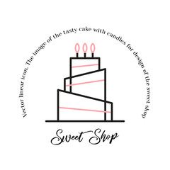 Stacked birthday cake badge dessert with color decor line art vector icon for sweet shop sign and cafe app.