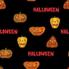 Halloween pumpkin vector seamless black pattern