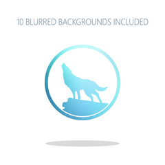 wolf. simple icon. Colorful logo concept with simple shadow on w