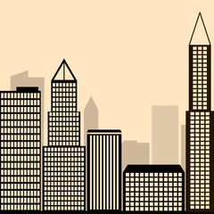 Night city vector illustration. Dark urban scape. Night cityscape in flat style