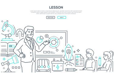 Physics Lesson - modern line design style banner