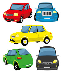 Set of toy cars on white background.