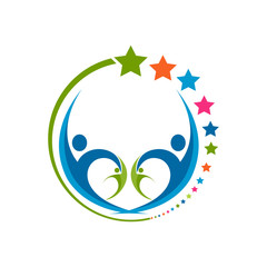 Human star creative logo design. Star people abstract vector emblem for education, social community