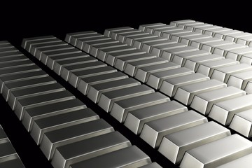 Stacked bars of silver bullion 3D.Financial concept