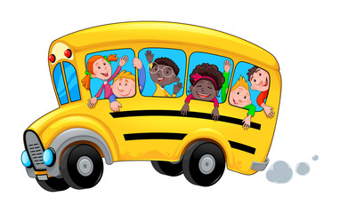 Fotobehang Kinderkamer Cartoon school bus with happy child students