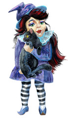 Halloween holiday little girl witch and cat