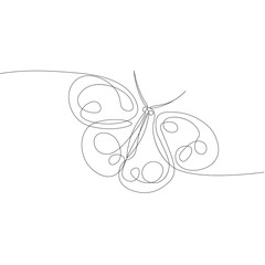 drawing from a continuous line of an isolated butterfly vector object