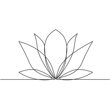 Lotus flower line art. Minimalist contour drawing. One line artwork