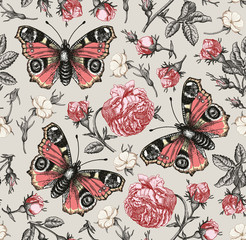 Butterflies peacock, moths, insect. Flowers seamless pattern. Blooming roses and Agrostemma. Vintage beautiful background. Wildflowers. Drawing, engraving. Vector Illustration.