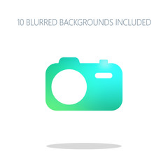 Simple photo camera. Technology icon. Colorful logo concept with