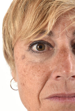 close-up of the face of a middle-aged woman