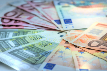 Close-up of all Euro banknotes in circulation in the EU