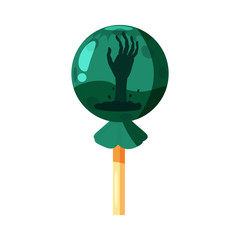 Colored sweets Hand from the earth, lollipop, hard candy, caramel Halloween feast. Green color with elements of the holiday Halloween. Vector, isolated, cartoon style