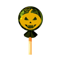 Colored sweets Pumpkin Jack Lamp character, lollipop, hard candy, caramel Halloween feast, holiday. Vector, isolated, cartoon style